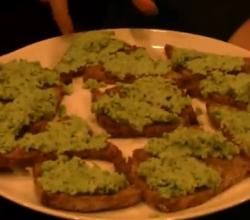 Edamame Hummus on Crostini
