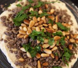 Hummus with Ground Beef and Pine Nuts