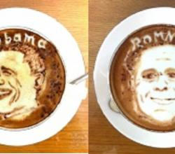 Obama, Romney Re-Created In Lattes!
