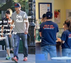 Ashton Kutcher Feeds Ice Cream To Mila Kunis, How Lovely!