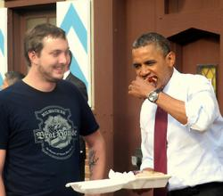 Obama Samples Bratwurst Outside Milwaukee Brat House