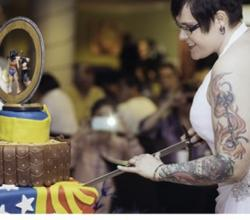 All Girl Wedding Celebrated With Wonder Woman Cake