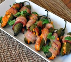 Bacon Wrapped Buffalo Jalapeno Poppers