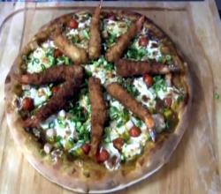 Japanese Curry Pizza with Fried Shrimp