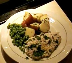 Baked Whitefish with Peas and Potatoes
