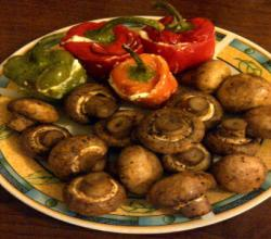 Mushrooms and Bell pepper Stuffed with Salmon and Cream Cheese Filling