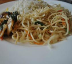 Baby Bok Choi and Mushrooms with Carrot Noodles