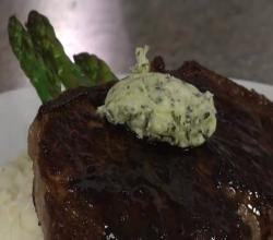 NY Strip Steak with Wine Sauce and Gorgonzola Butter