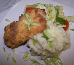 How to Make Oven Fried Chicken with Loaded Mashed Potatoes