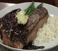 Pan Roasted Steak with Red Wine Reduction and Gorgonzola Butter
