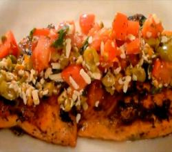 Pan Seared Salmon Filets with Tomato, Olive and Salsa Cruda