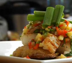 Pan Seared Scallops and Peach Salsa with Roasted Fingerling Potatoes going underneath