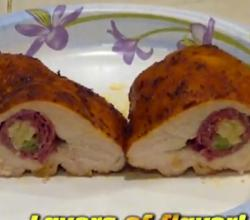 Smoked Chicken Breasts Stuffed with  Pastrami and Smoked Cheese