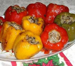 Peppers Stuffed with Capellini and Prosciutto