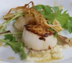 Perfectly Seared Digby Scallops with Artichoke Puree and Fried Shallot Rings