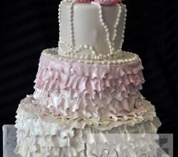 Bridal Shower Fondant Ruffle Cake