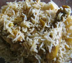 Chicken Biriyani Close Up View