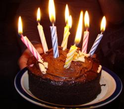 Homemade Chocolate Cake with Birthday Candles