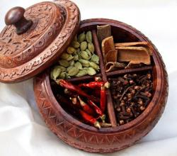 Indian Spice  In Kashmiri Wooden Box