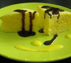 Lemon Cake With Chocolate Topping