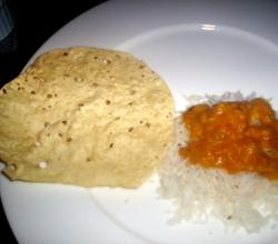 Rice With Tadka Dal And Fried Papad