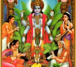 Satyanarayan With Panchamrit And Fruits