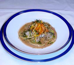 Shrimp Ravioli With Lobster Broth