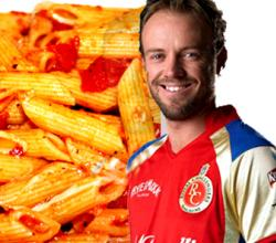 AB Devillers with Penne Arrabiatta