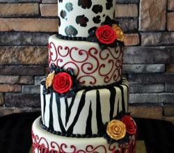 Animal Print Sweet 16 Birthday Cake