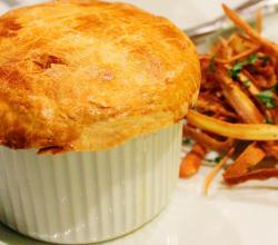Steak & Guinness pie with parsnip chips by Steven Dolby