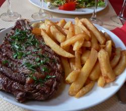 Beef rib with fries