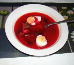 Beetroot soup with vegetables and hard-boiled eggs