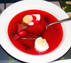 Beetroot soup with vegetables and boiled eggs