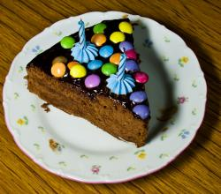Birthday cake - sachertorte and coloured candies