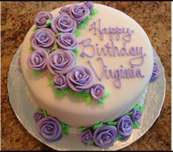 Birthday Cake with Rose Decoration