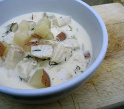 bowl of fish chowder