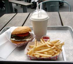Burger fries and milkshake