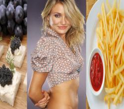 Cameron Diaz with Caviar and French Fries