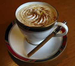 Cappuccino with a Cinnamon Stick
