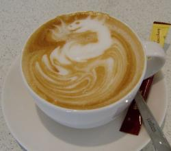 Cappuccino with decor dragon