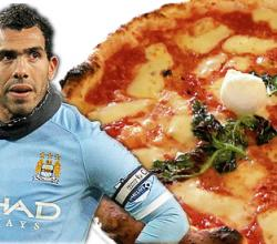 Carlos Tevez with Pizza