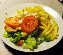 Chicken breast with mozzarella and tomato, french fries