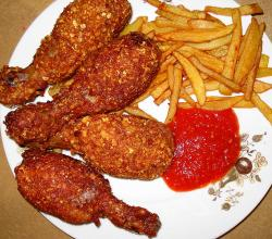 Chicken Broast with Ketchup and finger chips