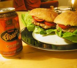 Chicken burgers and beer
