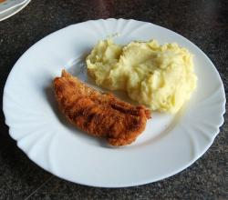 Chicken schnitzel and mashed potatoes
