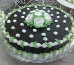 Chocolate Cake In Green & White