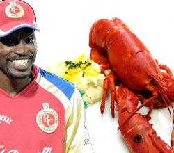 Chris Gayle with Sabut Lobster