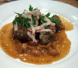 Cochon pork cheeks with peanuts &amp; radishes