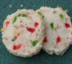 coconut cookies with almonds and candied fruit