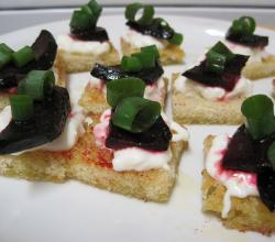 Beet-and-Burrata Crostini